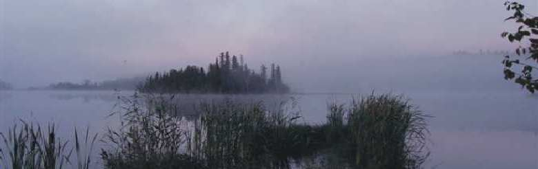 Island on Lake in the Mist