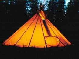 After Dark Lighted Teepee