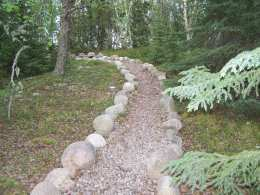 Rock Lined Path Through Woods